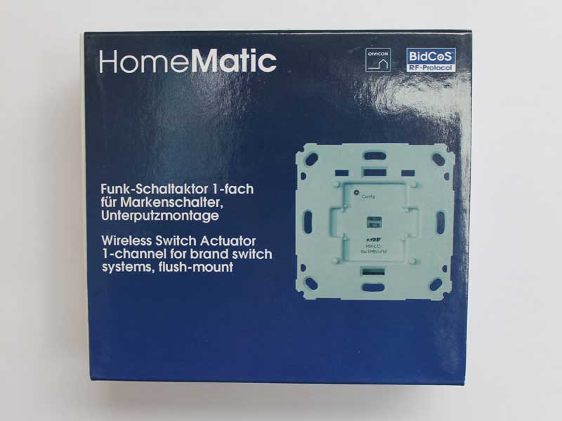 Verpackung Funk-Schaltaktor HM-LC-Sw1PBU-FM