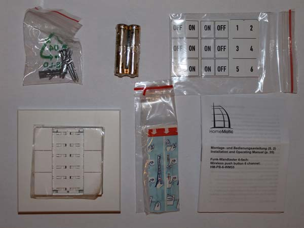 Packungsinhalt Wandtaster 6-fach (HM-PB-6-WM55)