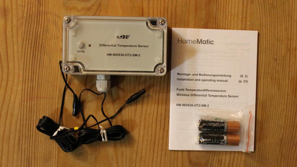 Verpackungsinhalt Temperatur-Differenz-Sensor (HM-WDS30-OT2-SM-2)